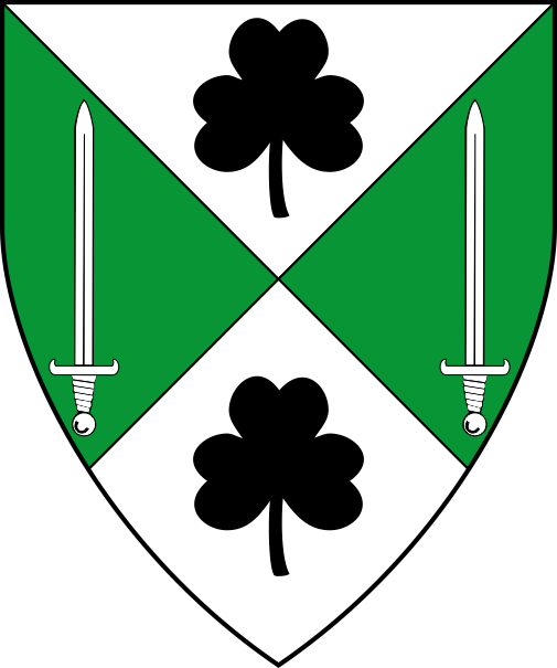 [Per saltire argent and vert, two shamrocks sable and two swords argent]