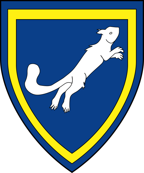[Azure, a squirrel salient contourny argent, an orle Or]