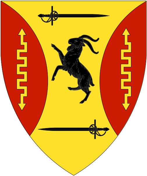 [Or, in pale a goat rampant between a rapier fesswise reversed and a rapier fesswise sable between flaunches gules, each charged with a lightning bolt Or.]