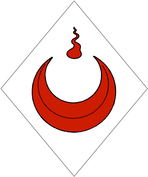 [Argent, between the horns of a crescent a gout gules.]