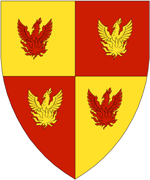 [Quarterly Or and gules, four phoenixes counterchanged.]