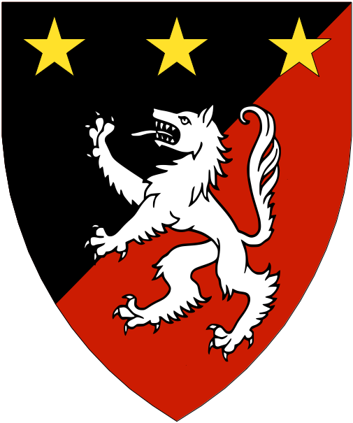 [Per bend sinister sable and gules, a wolf rampant argent and in chief three mullets Or.]
