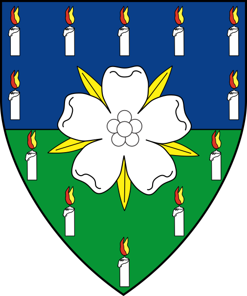 [Per fess azure and vert, a rose argent barbed Or within an orle of candles argent lit proper]