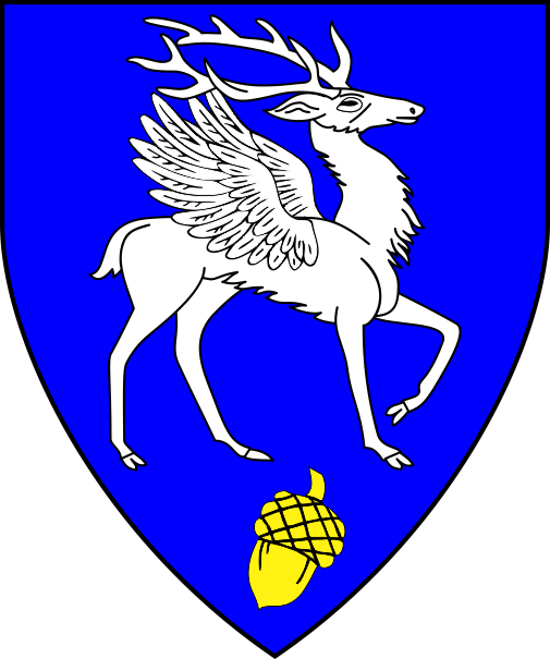 [Azure, a winged stag trippant to sinister argent and in base an acorn Or ]