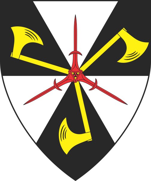 [Gyronny of six sable and argent, three axes in pall conjoined at the hafts Or surmounted by three daggers in pall inverted conjoined at the pommels gules]