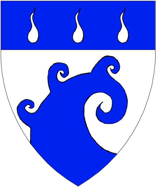 [Argent, a schnecke issuant from base maintaining on its outer swirl three schneckes, on a chief azure three gouttes d'eau.]