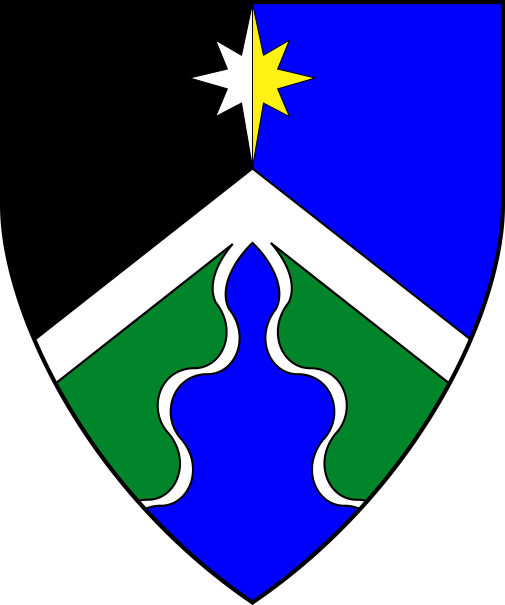 [Tierced per pall inverted sable, azure and vert, a chevronel argent conjoined with a pile wavy inverted azure, fimbriated argent, and in chief a compass star counterchanged argent and Or]