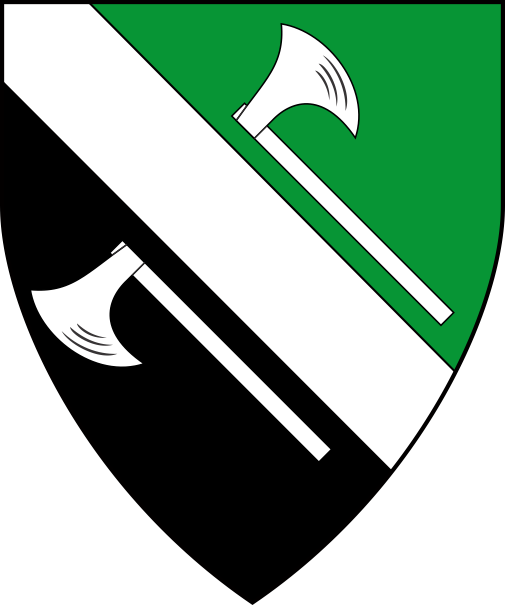 [Per bend vert and sable, a bend between two axes bendwise addorsed argent]