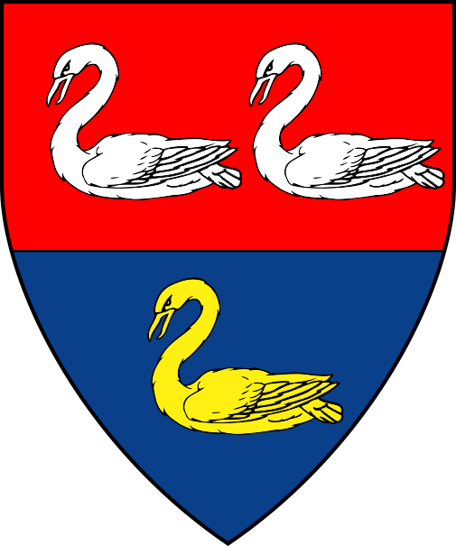 [Per fess gules and azure, three swans naiant counterchanged argent and Or]