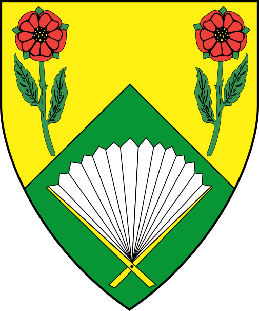 [Per chevron Or and vert, two roses proper slipped and leaved vert and a fan argent sticked Or]
