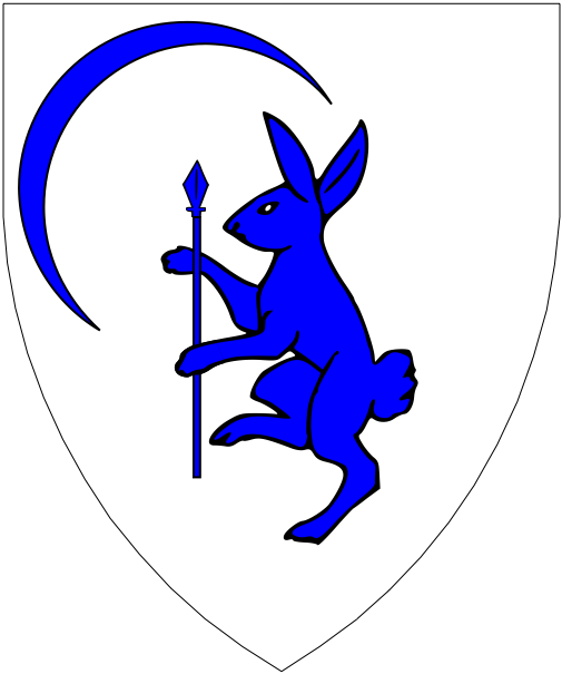 [Argent, a coney rampant maintaining a spear and in canton a crescent pendant bendwise azure.