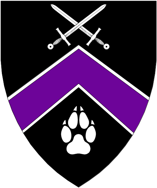 [Sable, a chevron purpure fimbriated between two swords in saltire and a paw print argent.]