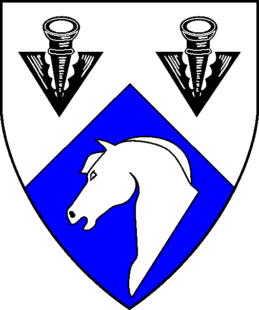 [Per chevron argent and azure, two pheons sable and a horse's head couped argent]