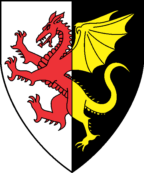 [Per pale argent and sable, a dragon counterchanged gules and Or]