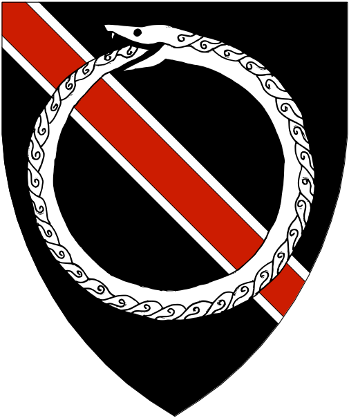 [Sable, a bend gules fimbriated and overall a serpent in annulo vorant of its tail argent.]