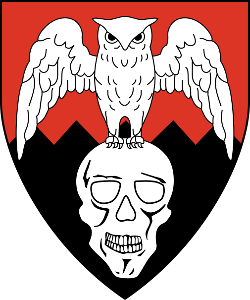 [Per fess indented gules and sable, in pale an owl displayed perched on a skull argent]