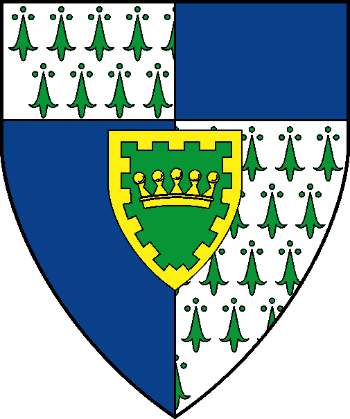 [Per pale azure and argent ermined vert, a chief counterchanged, for augmentation on an inescutcheon vert, a pearled coronet within a bordure embattled Or]