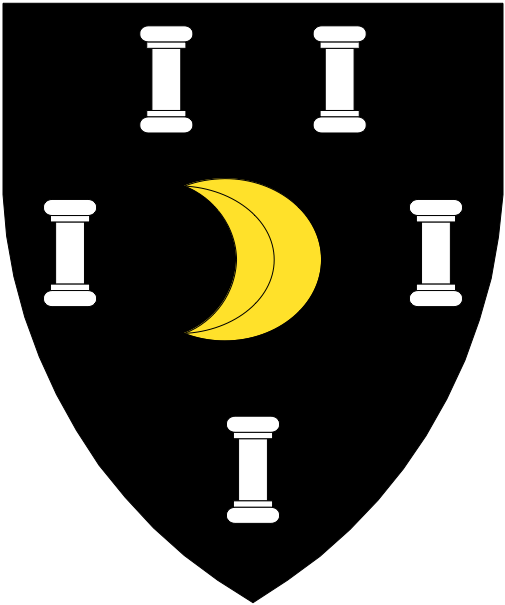 [Sable, an increscent Or between five columns, two, two, and one argent]