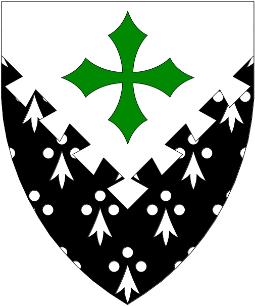 [Per chevron inverted dovetailed argent and counter-ermine, in chief a cross clechy vert.]