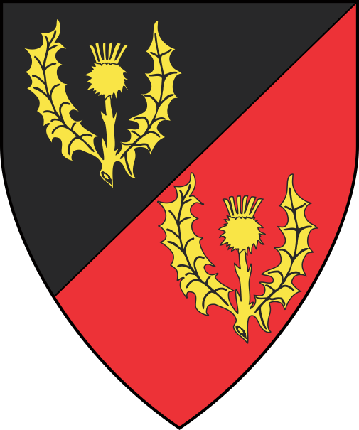 [Per bend sinister sable and gules, two thistles Or]