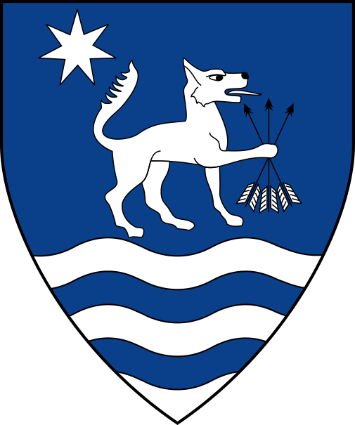 [Azure, a wolf passant to sinister maintaining a sheaf of arrows inverted, in canton a mullet of seven points argent, a ford proper]