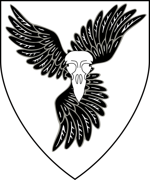 [Argent, on three bird's wings conjoined in pall sable a bird's skull affronty argent]