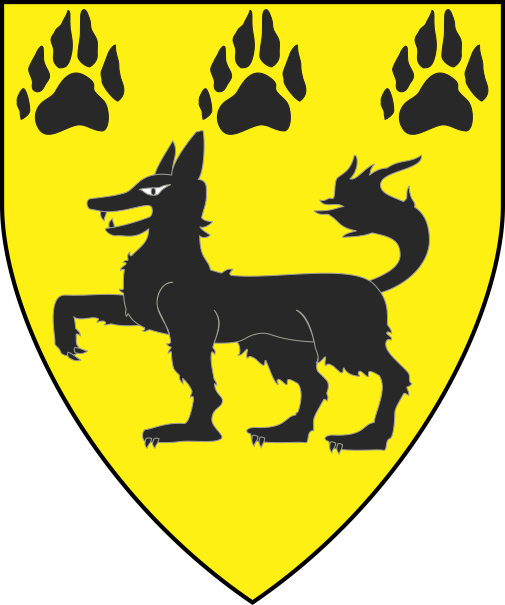 [Or, a wolf passant and in chief three pawprints sable]
