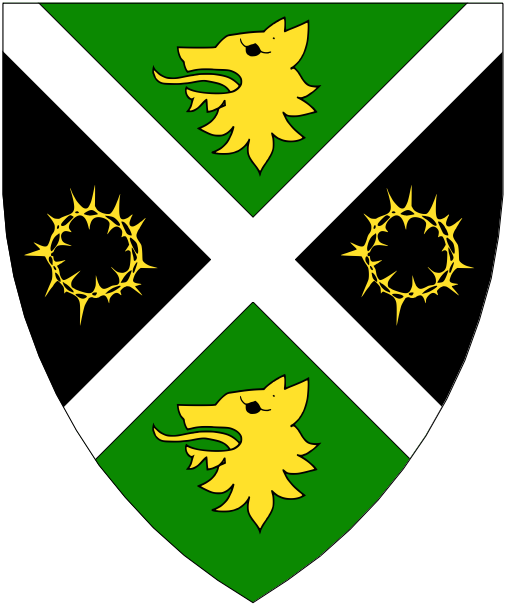 [Per saltire vert and sable, a saltire argent between in pale two wolf's heads erased and in fess two chaplets of thorns Or.]