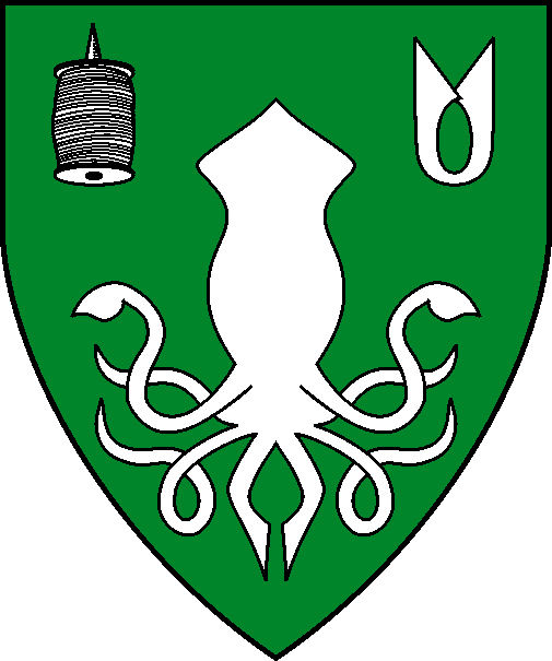 [Vert, a calamarie inverted, in chief a quill of yarn and a pair of shears inverted argent.]