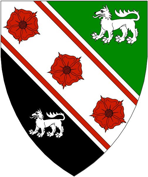 [Per bend vert and sable, on a bend between two wolves statant argent, three roses gules between two bendlets gules.]