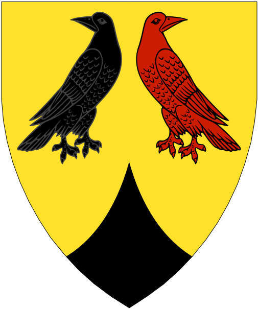[Or, two crows respectant regardant the dexter sable and the sinister gules, a point pointed sable.]
