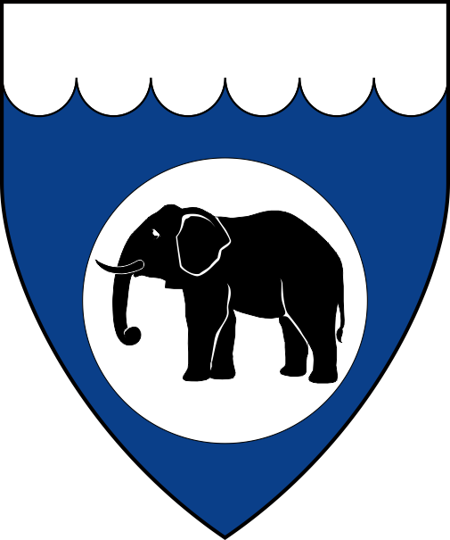 [Azure, on a plate an elephant passant sable, a chief invected argent]
