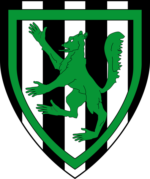 [Paly sable and argent, a werewolf rampant and an orle vert]
