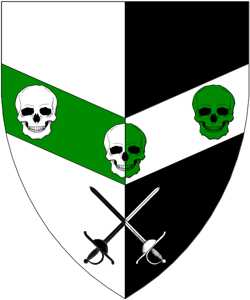[Per pale argent and sable, on a chevron inverted counterchanged vert and argent three skulls counterchanged argent and vert, in base two rapiers in saltire counterchanged sable and argent.]