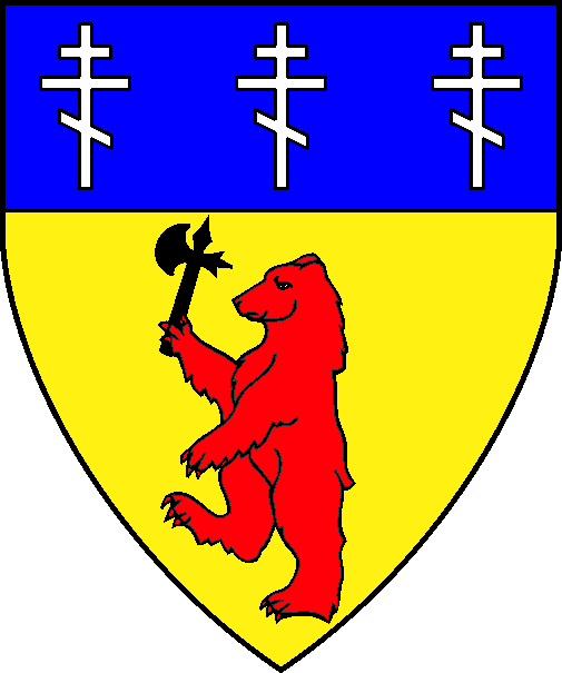 [Or, a bear rampant gules maintaining an axe sable, on a chief azure three Russian Orthodox crosses argent]