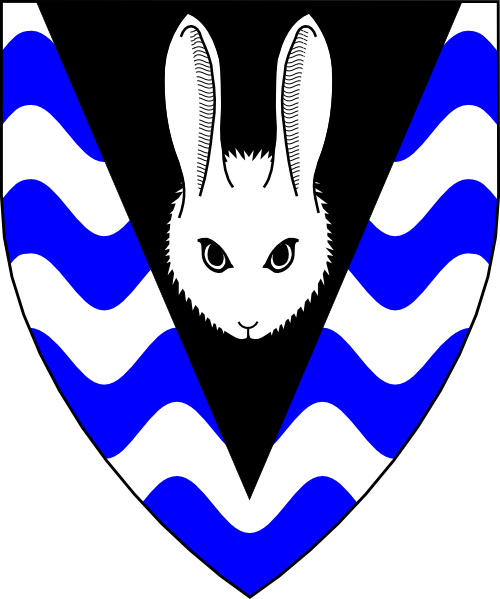 [Barry wavy argent and azure, on a pile sable a rabbit's head cabossed argent.]
