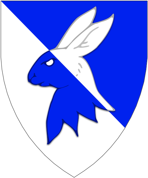 [Per bend azure and argent, a rabbit's head erased counterchanged.]