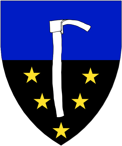 [Per fess azure and sable mullety Or, a mattock palewise blade to sinister argent.]