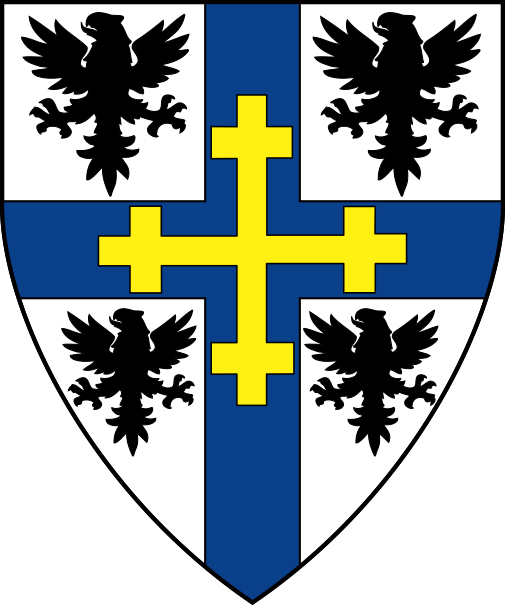[Argent, on a cross azure between four eagles sable a cross crosslet Or]