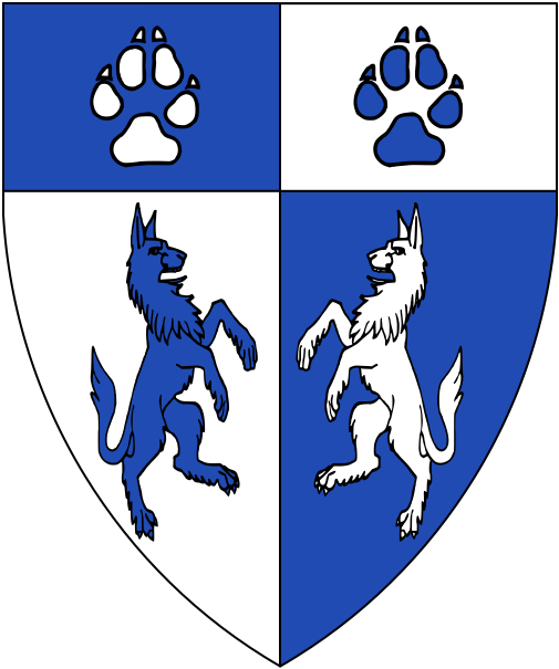 [Per pale argent and azure, two wolves combattant and on a chief two pawprints all counterchanged.]