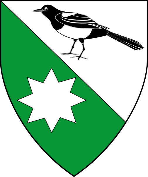 [Per bend argent and vert, a magpie proper and a mullet of 8 points argent]