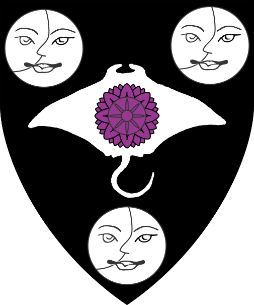 [Sable, on a manta ray between three moons in their plenitude argent a lotus flower affronty purpure]