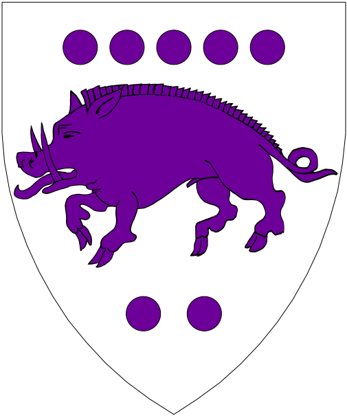 [Argent, a boar passant between seven roundels five and two purpure.]
