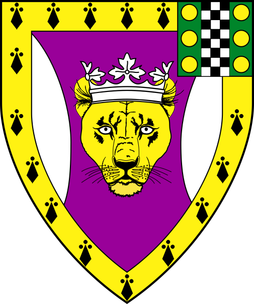 [Purpure, a catamount's head cabossed Or crowned between flaunches argent, a bordure erminois, for augmentation on a sinister canton vert a pale checky sable and argent between six bezants]
