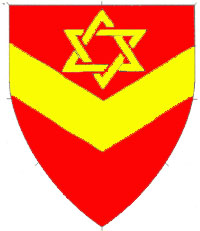 [Gules, a chevron inverted and in chief a star of David Or.   ]