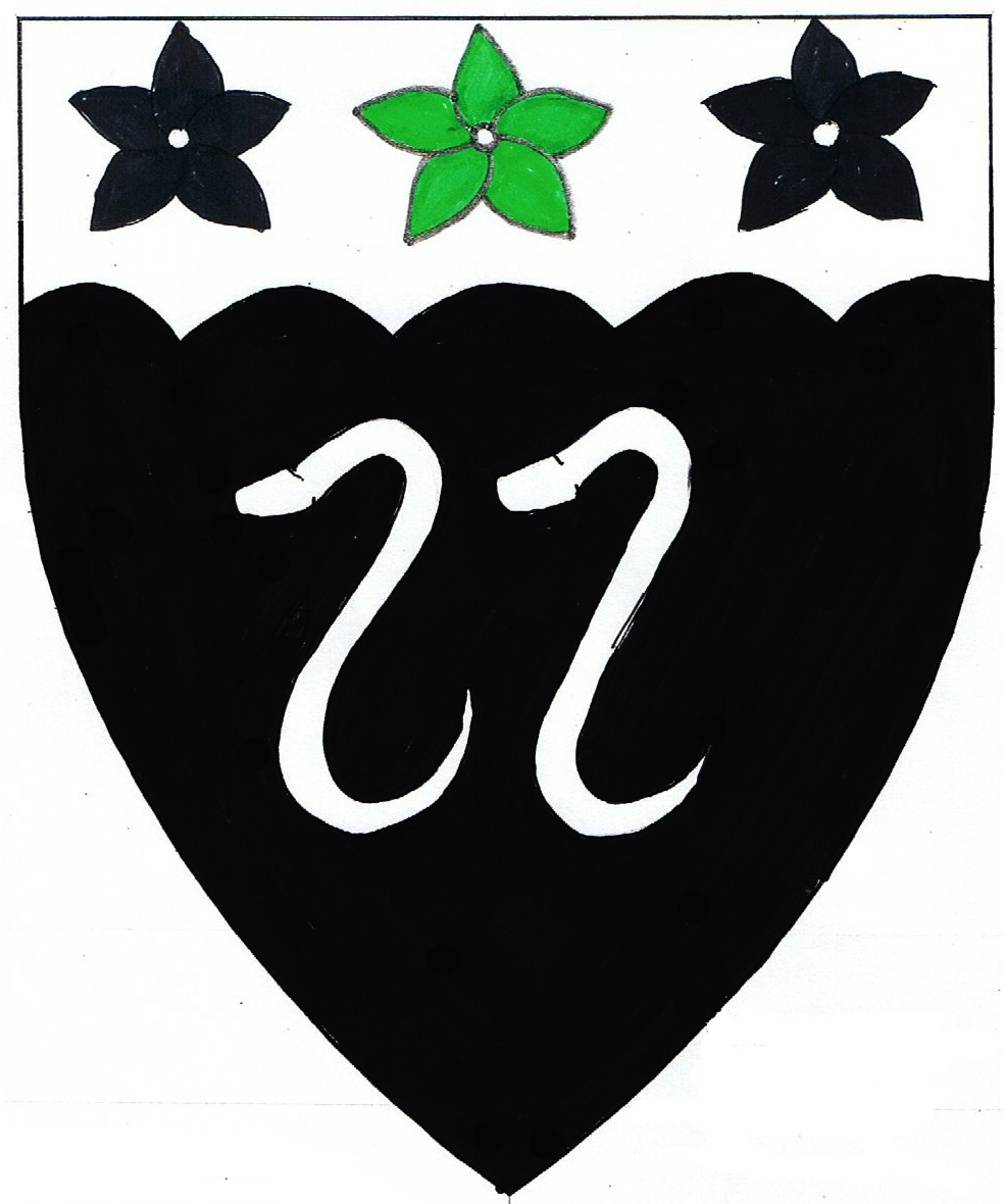 [Sable, two serpents erect, on a chief engrailed argent a cinquefoil vert between two cinquefoils sable. 	  ]