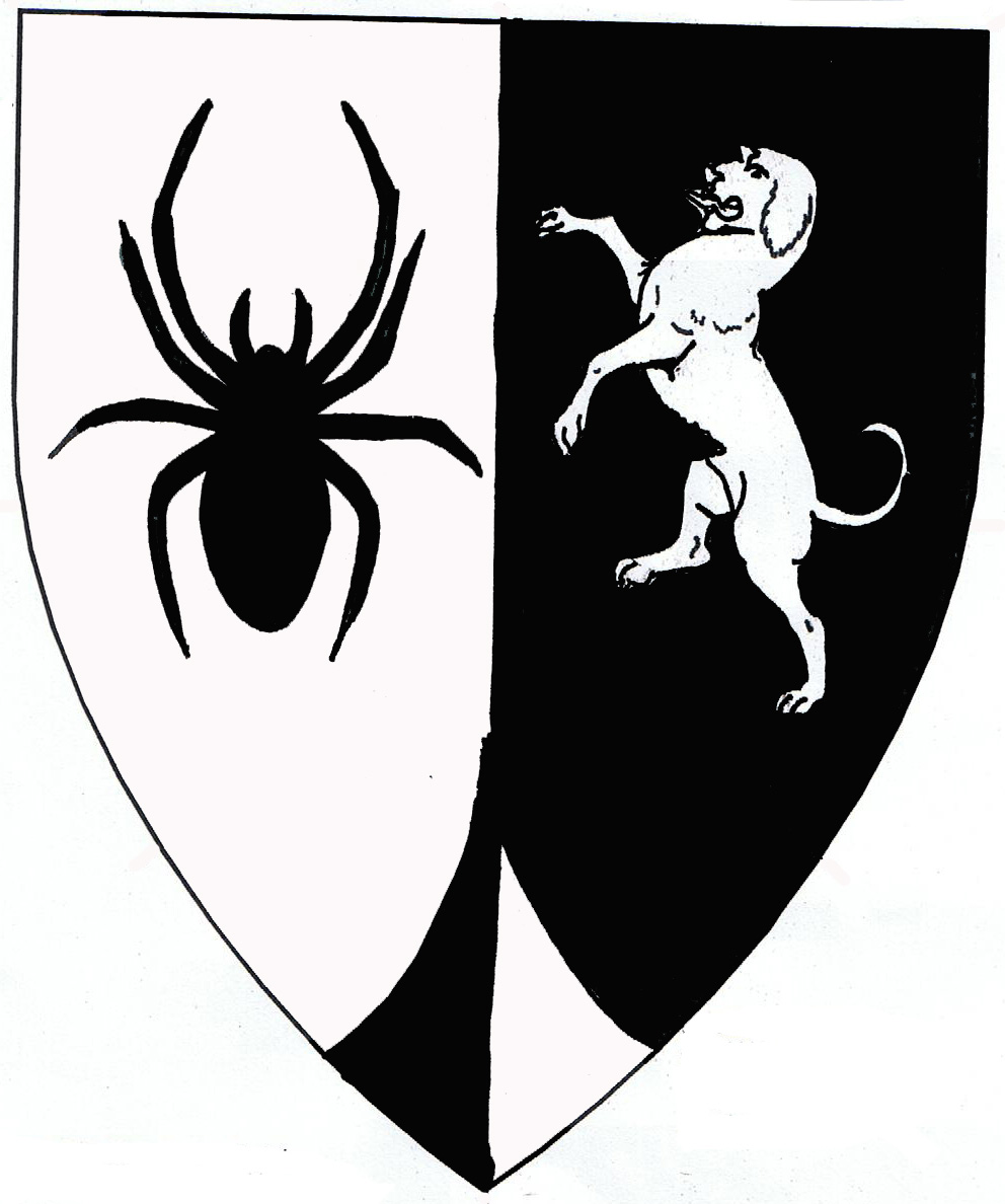 [Per pale argent and sable, a spider and a talbot rampant, a point pointed counterchanged.  ]