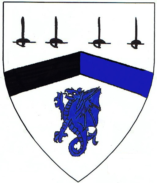 [Argent, a chevron per pale sable and azure between four swords sable and a wyvern segreant azure	  ]