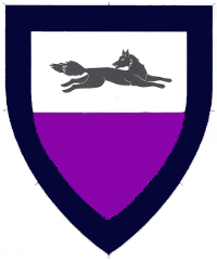 [Per fess argent and purpure, in chief a fox courant contourny regardant, a bordure sable    ]