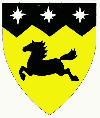 [Or, a horse courant and on a chief indented sable three compass stars argent.	  ]